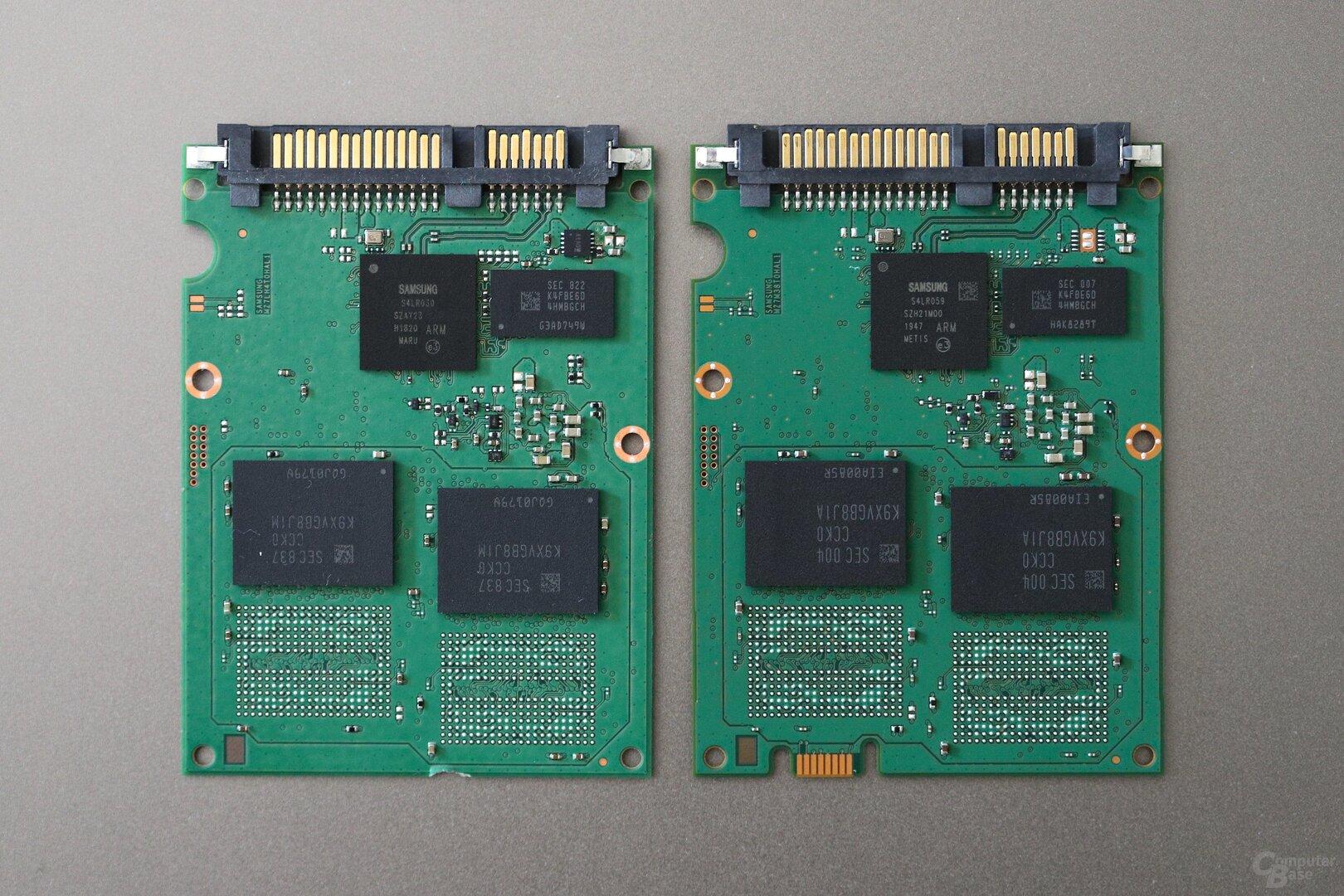 Links das PCB der 860 QVO 4 TB, rechts der 870 QVO 4 TB (Vorderseite)