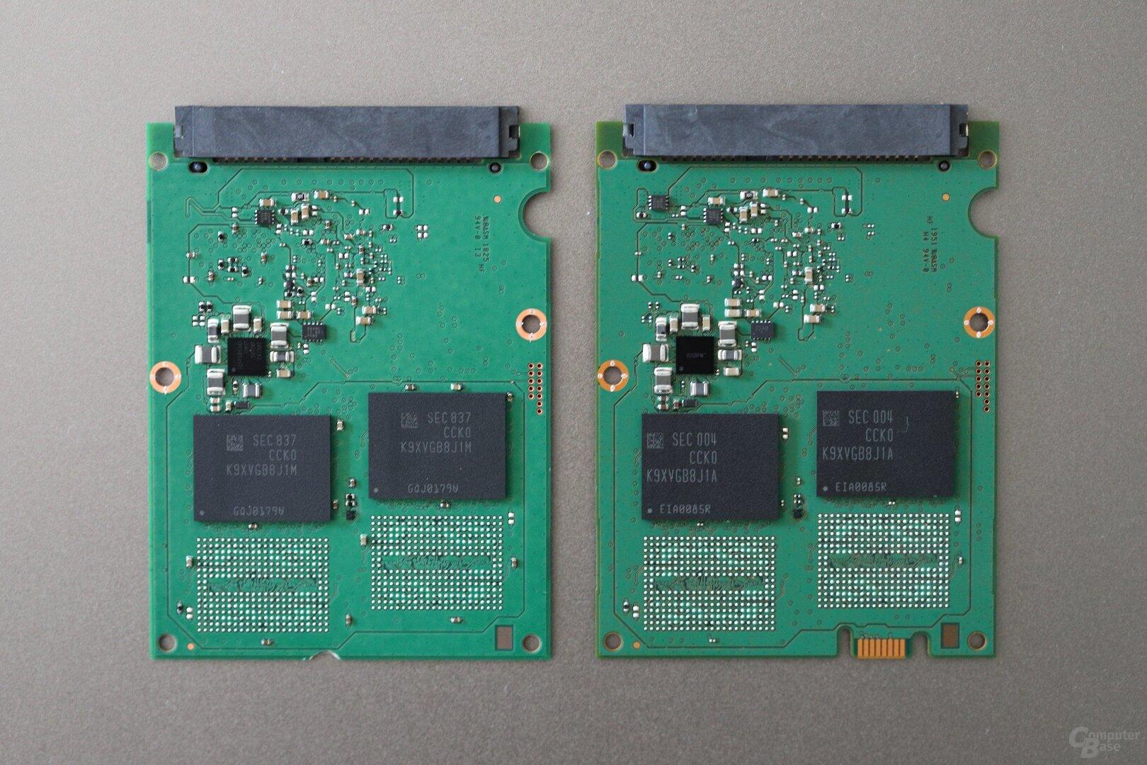 Links das PCB der 860 QVO 4 TB, rechts der 870 QVO 4 TB (Rückseite)