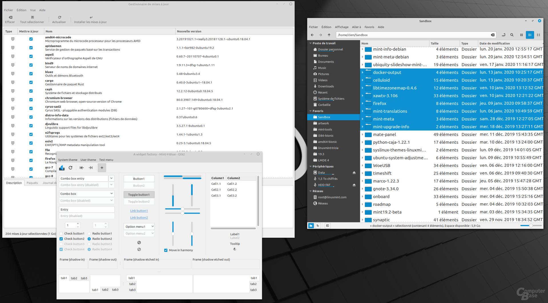 "Das neue Farbschema ""Aqua"" in der Linux Mint 20 Cinnamon-Edition"