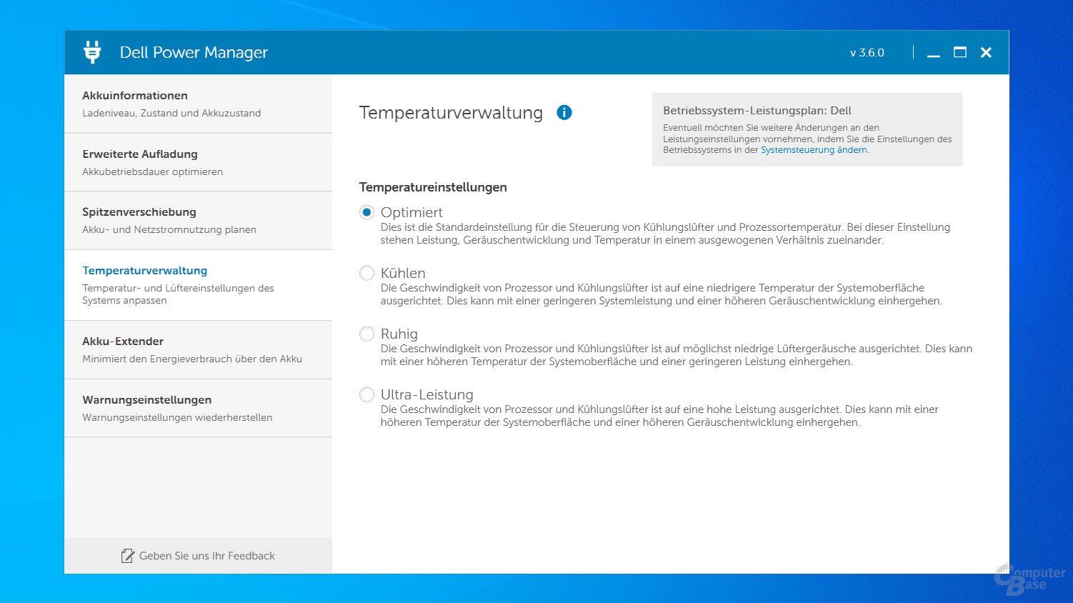 Energieprofile im Dell Power Manager