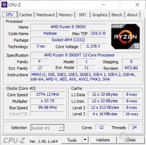 Der AMD Ryzen 9 3900XT auf dem MSI MEG X570 Godlike