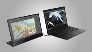 Lenovo ThinkVision M14t: Mobiles Touch-Display mit 300 cd/m² lädt Notebooks
