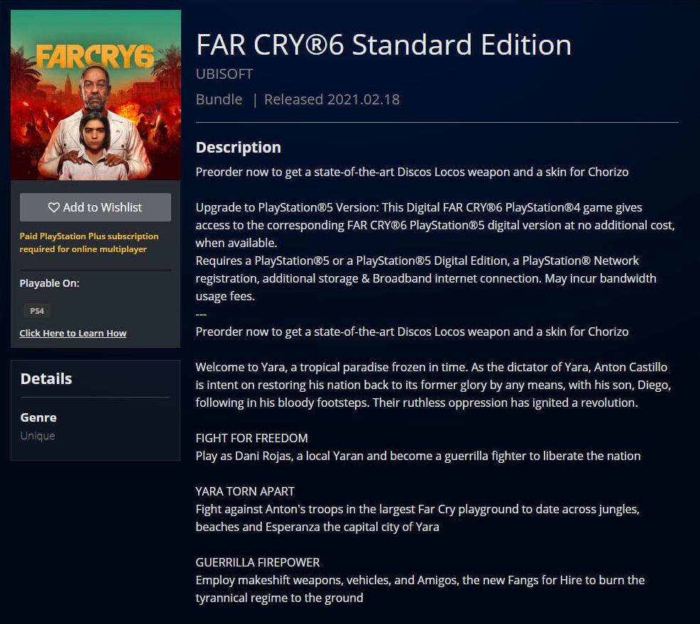 Produktseite im PlayStation Store verrät erste Details zu Far Cry 6