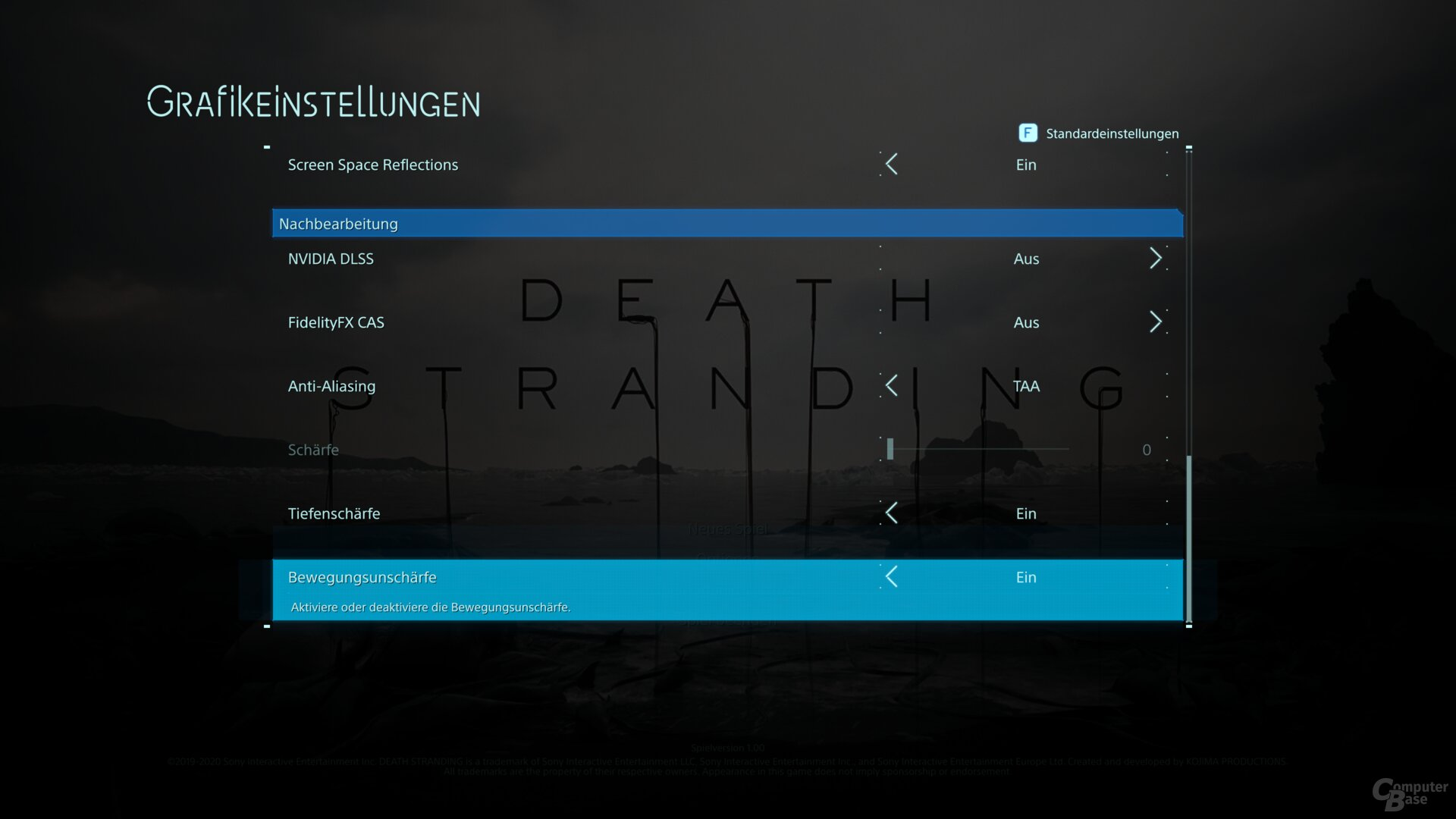 Das Grafikmenü von Death Stranding