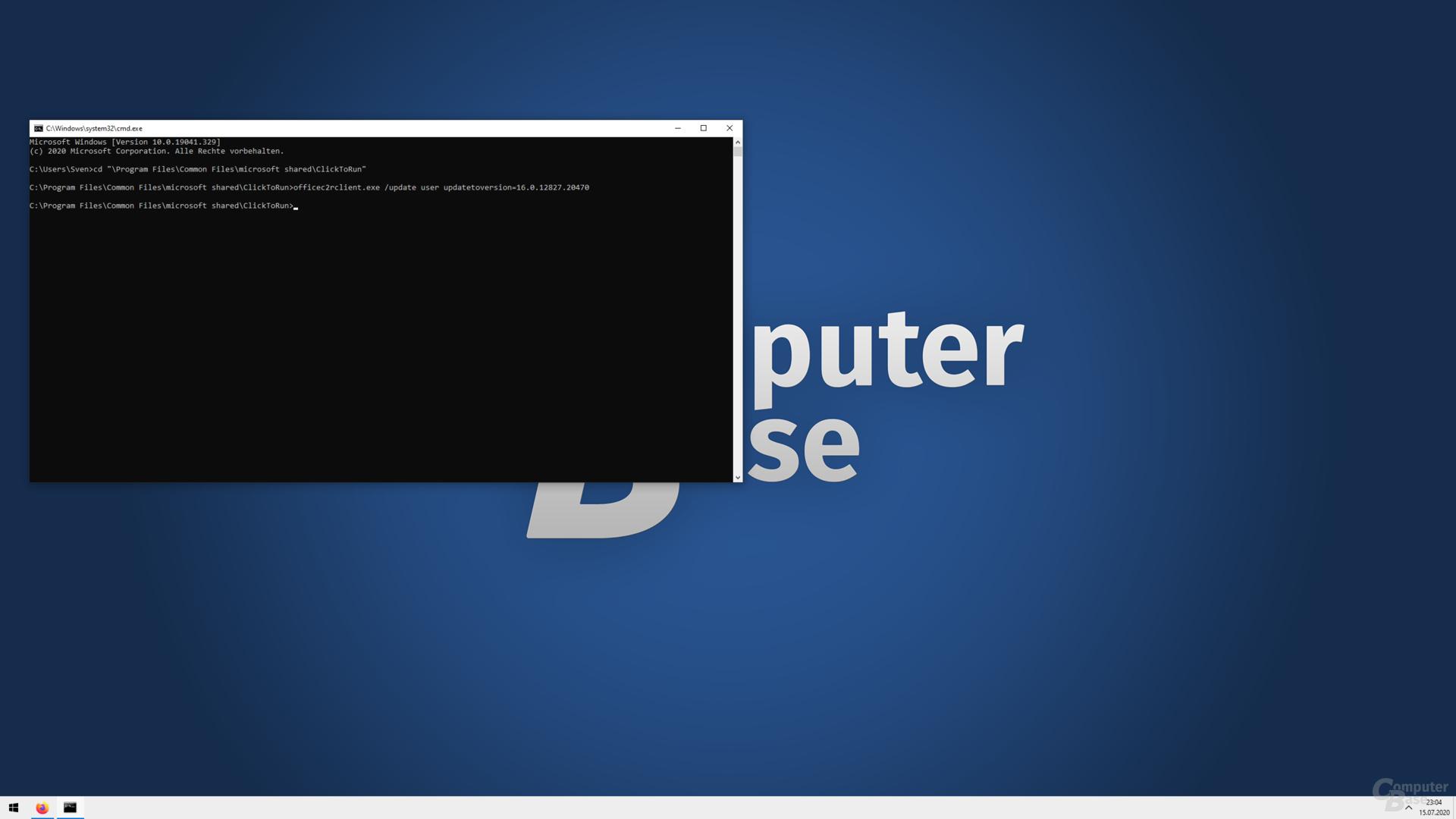 Befehl Nummer 2 startet die Update- und Installationsroutine von Microsoft Office