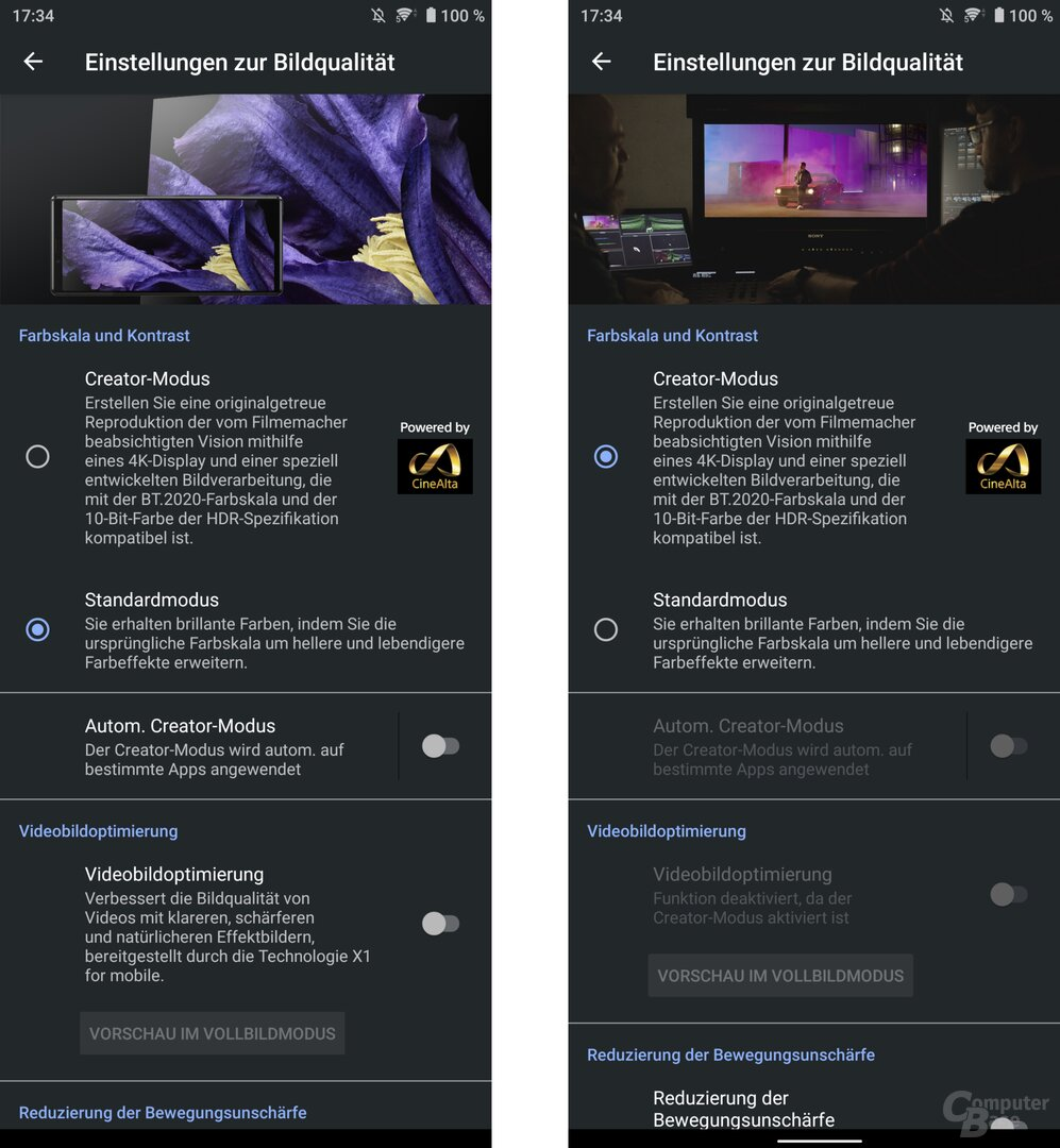 Bildmodi des Displays im Vergleich