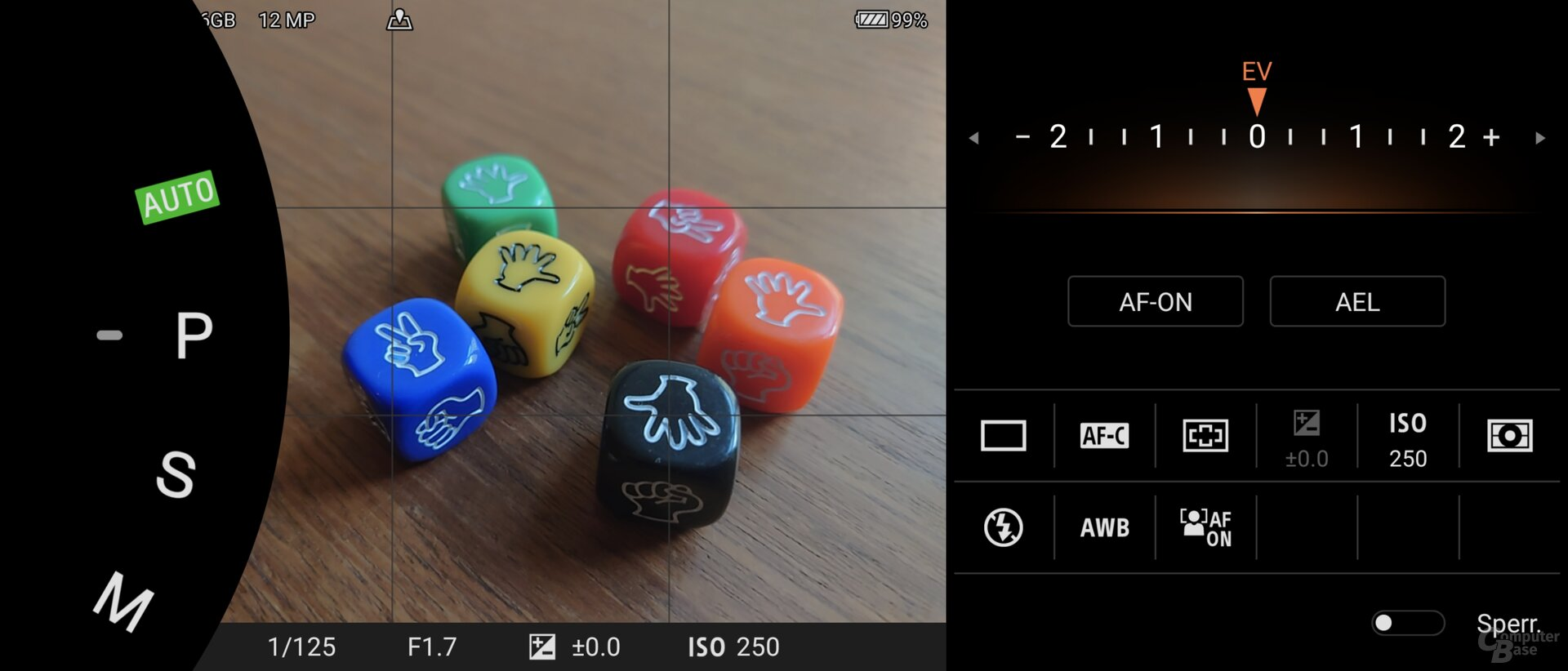 Photo-Pro-App im P-Modus