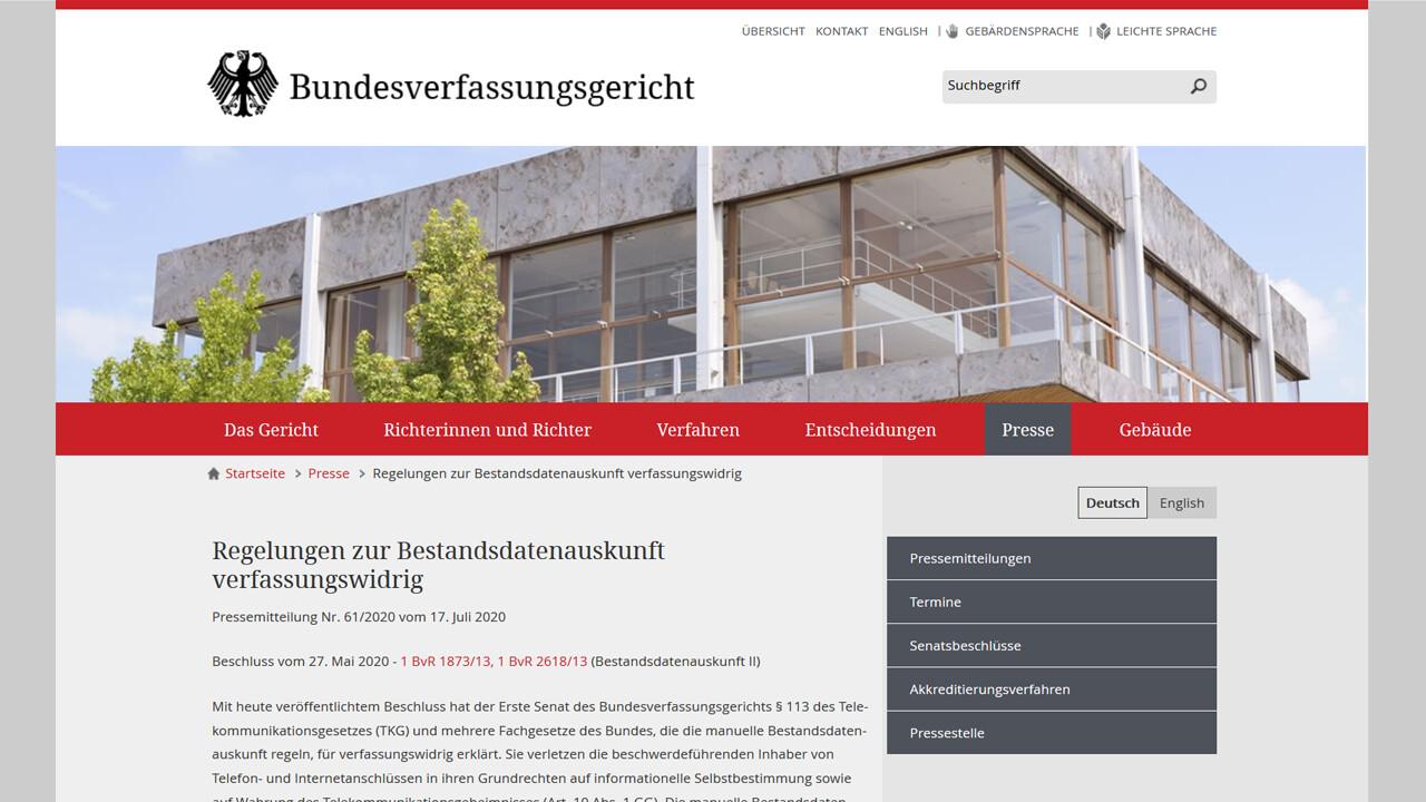 Bundesverfassungsgericht: Bund darf nur begrenzt auf Bestandsdaten zugreifen