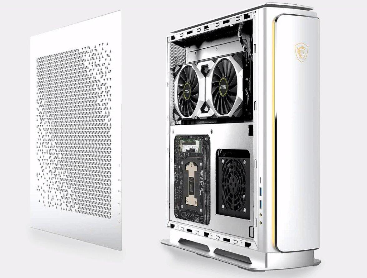 MSI Creator P100X – der Innenaufbau von Mainboard und vertikal montierter Grafikkarte