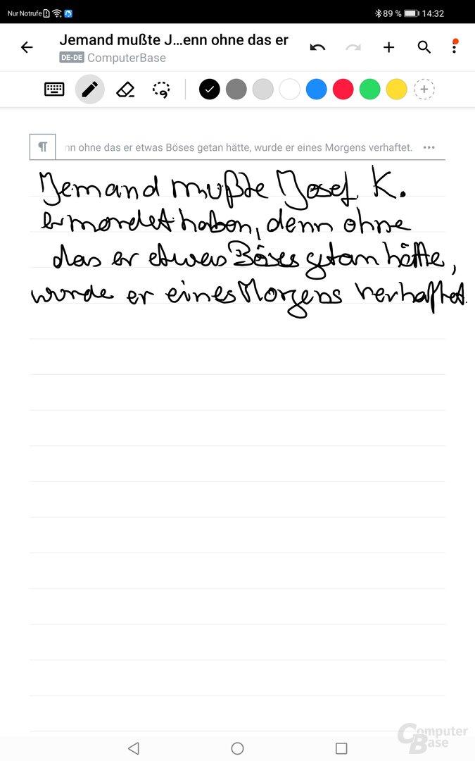 Die Handschrifterkennung des MatePad Pro agiert sehr zuverlässig