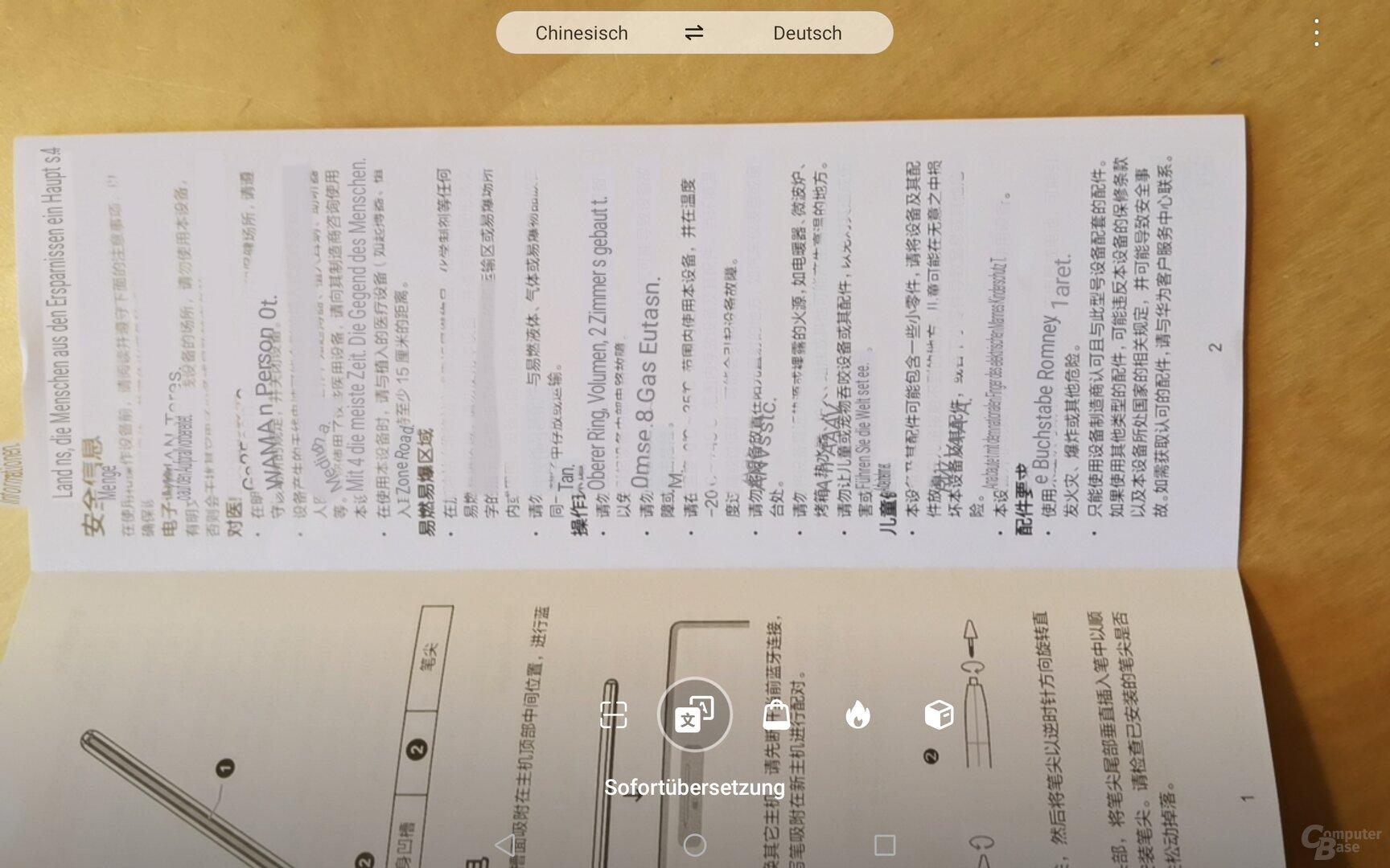 Die Sofortübersetzung scheitert bereits am Beipackzettel