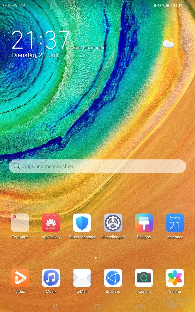 Die Startseite des MatePad Pro