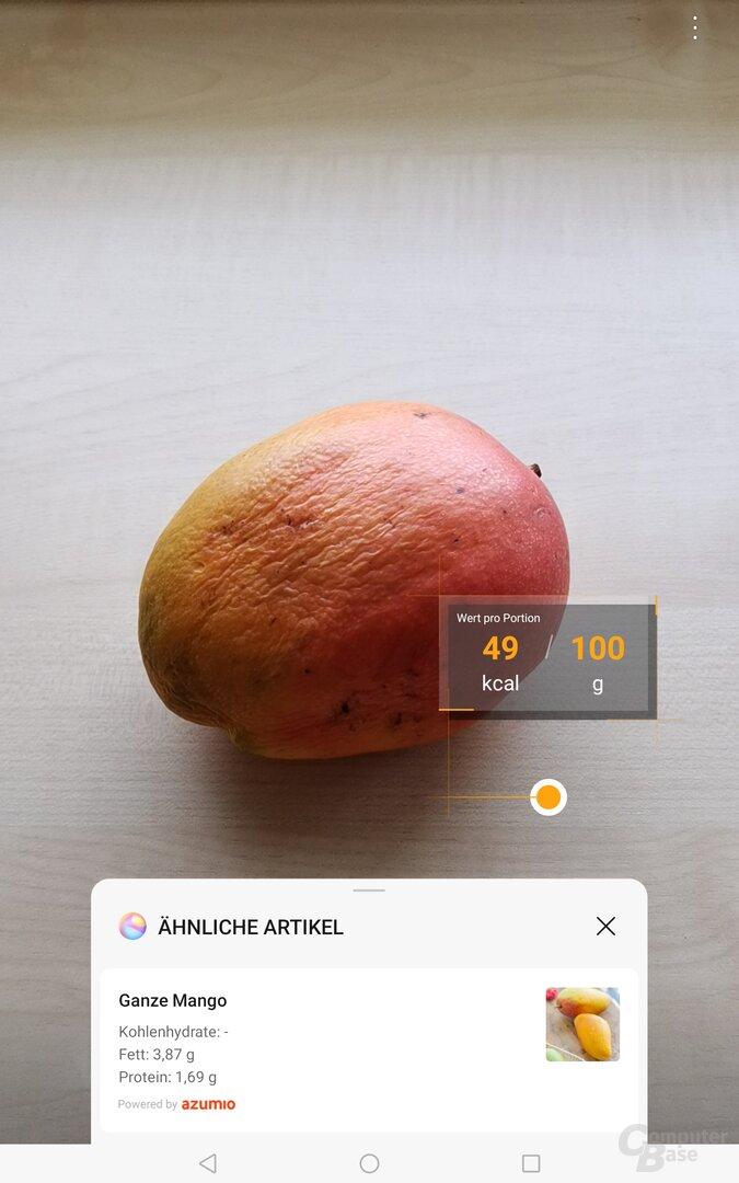 Eine Mango hat die Kalorien-Funktion zumindest erkannt
