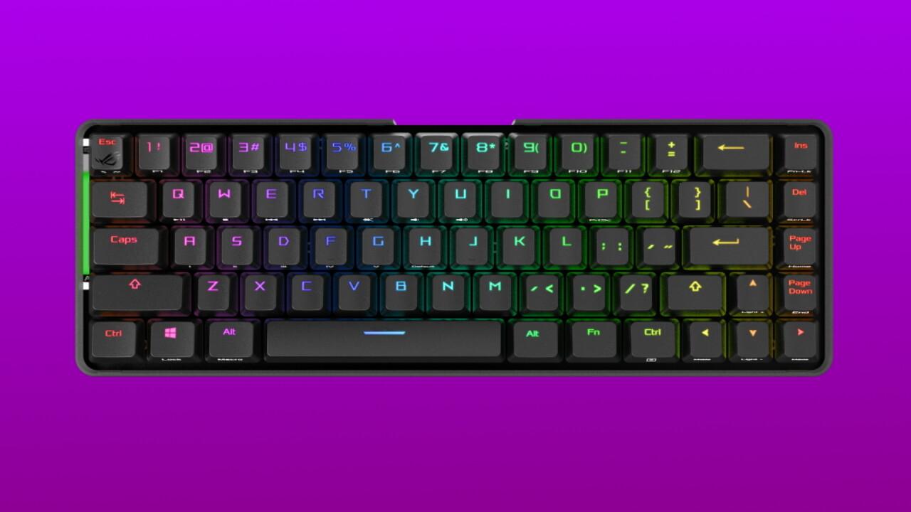 Mechanische Kompakttastatur: Asus' kabellose Falchion hat 68 Tasten mit Touch Panel