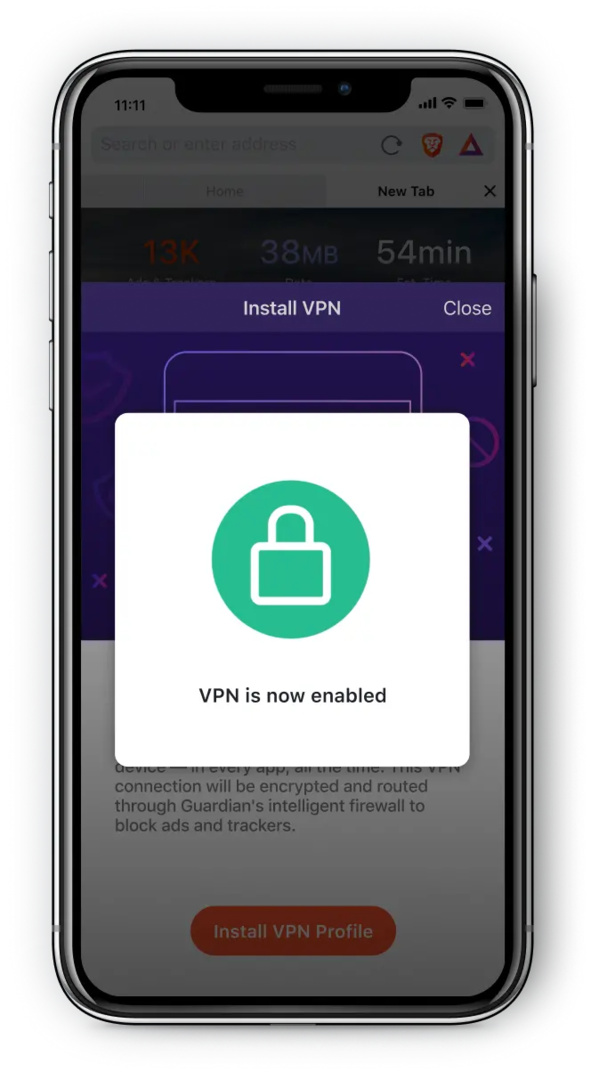 Brave Firewall + VPN powered by Guardian