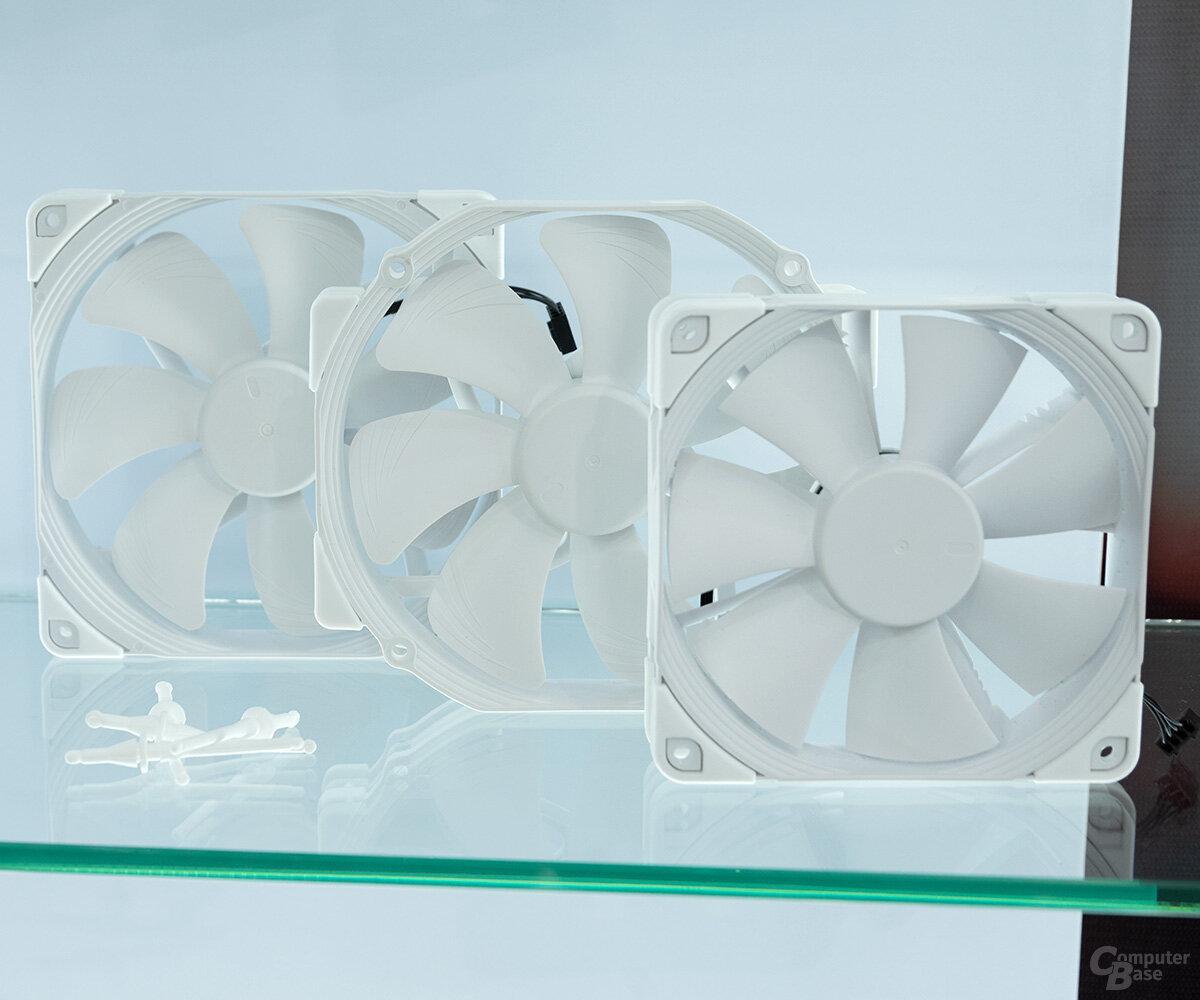 Weiße Noctua-Lüfter NF-A15 PWM, NF-A14 PWM und NF-F12 PWM