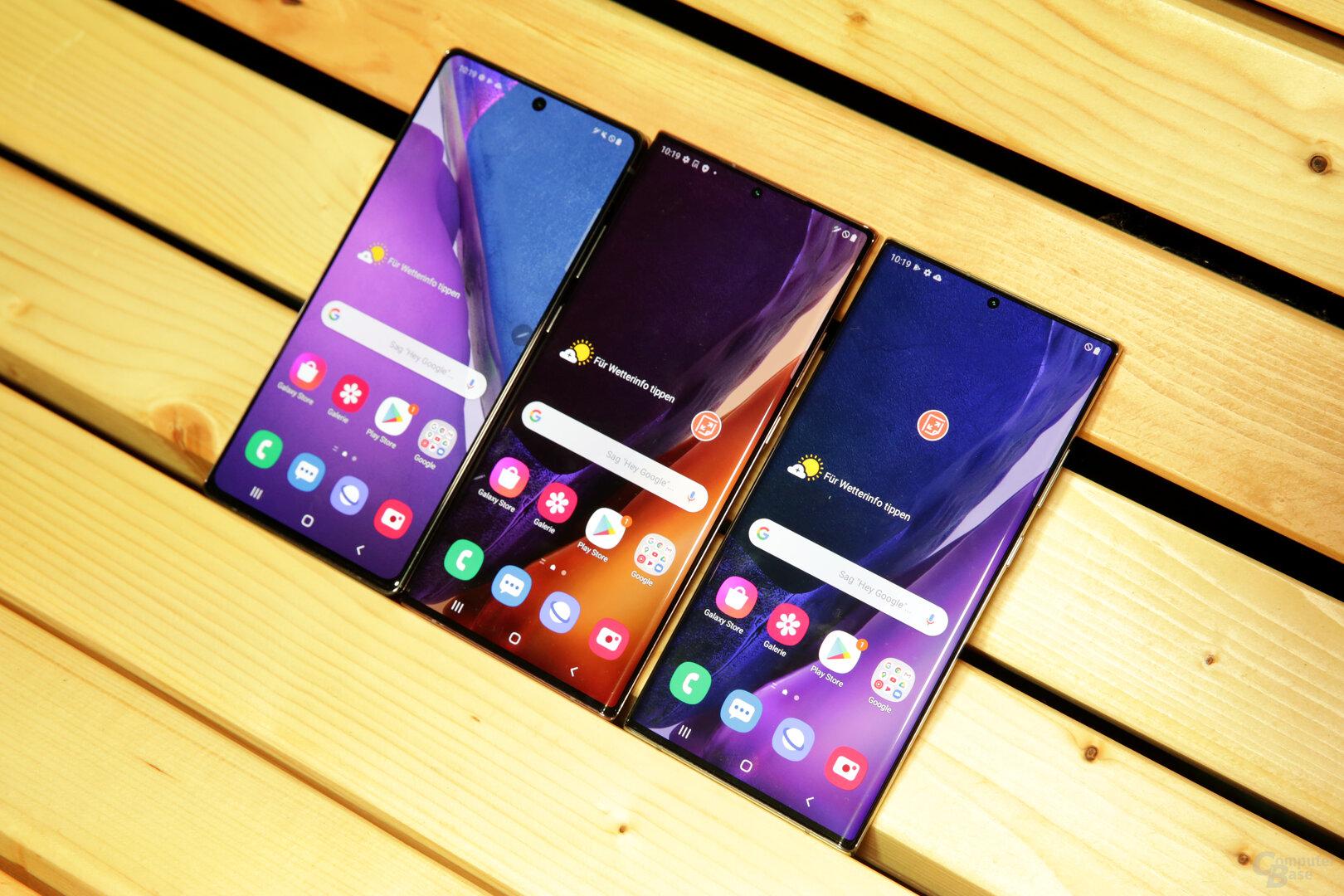 Galaxy Note 20 und Note 20 Ultra im Größenvergleich