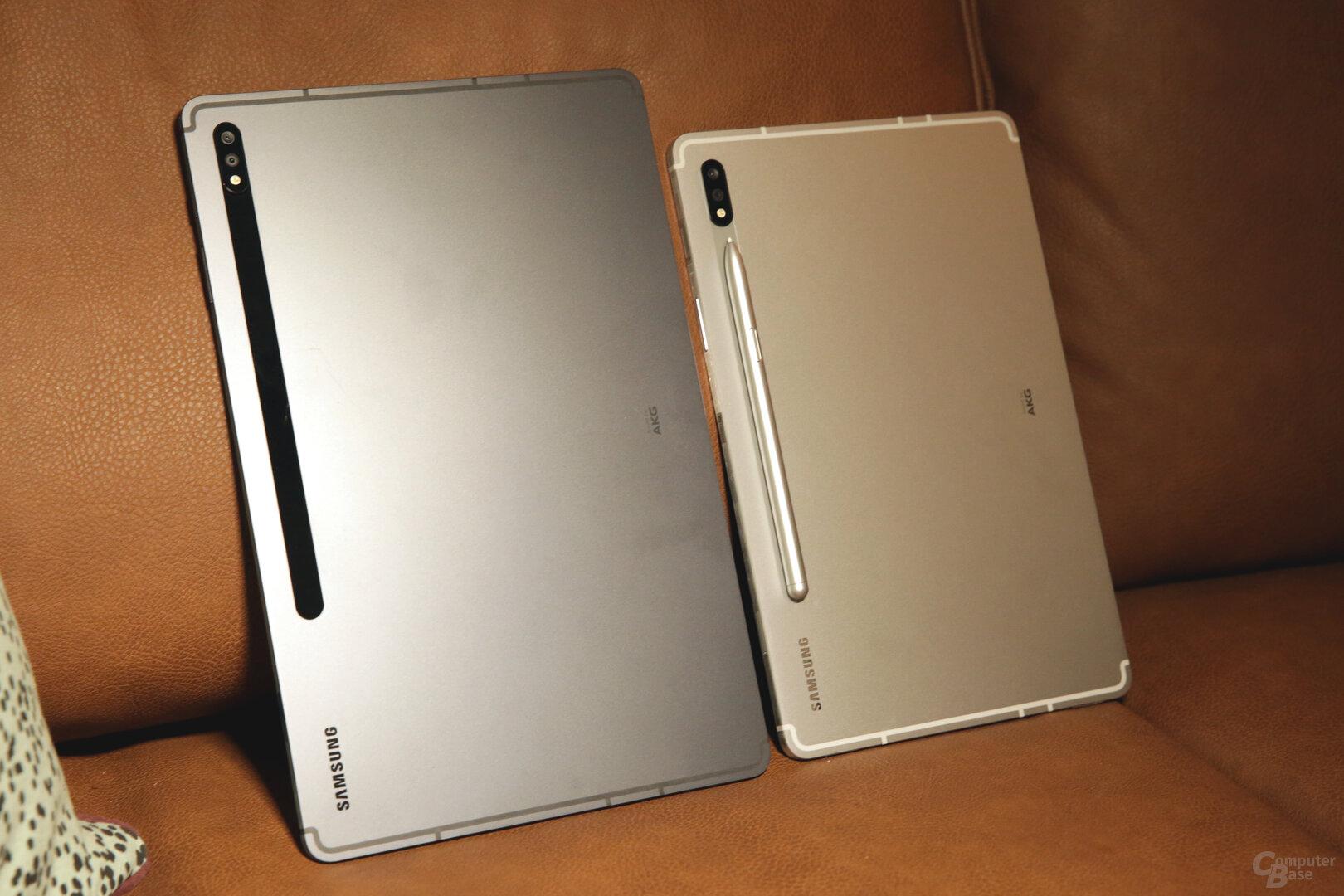 Galaxy Tab S7+ und S7 im Größenvergleich