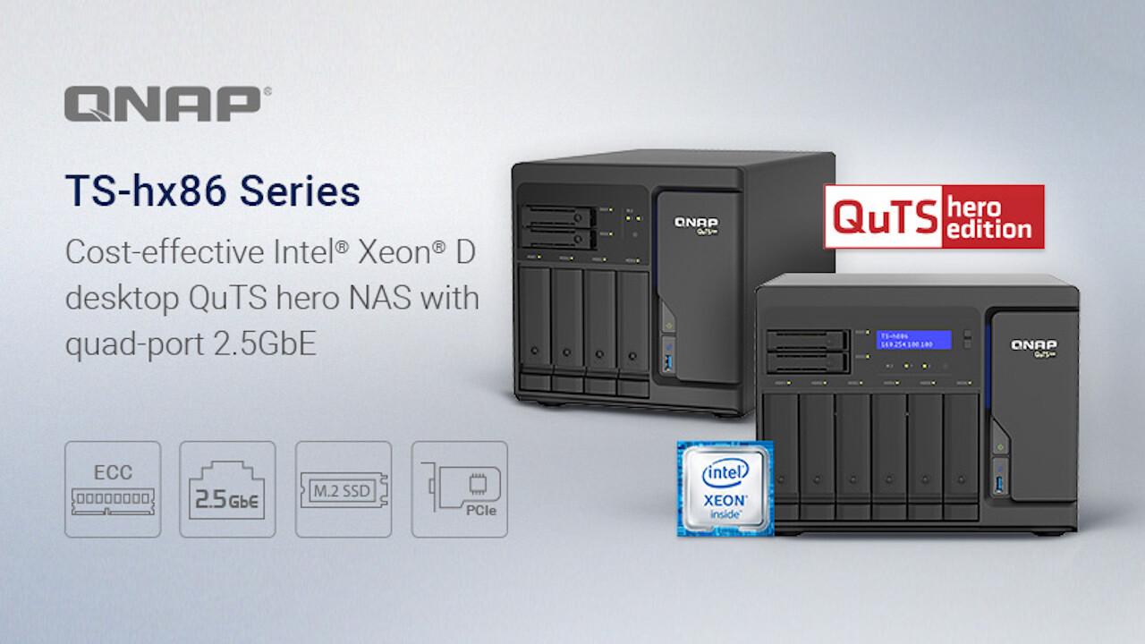 QNAP TS-h686 und TS-h886: ZFS-NAS mit Intel Xeon, ECC-RAM, M.2, PCIe und 4 × 2,5 GbE