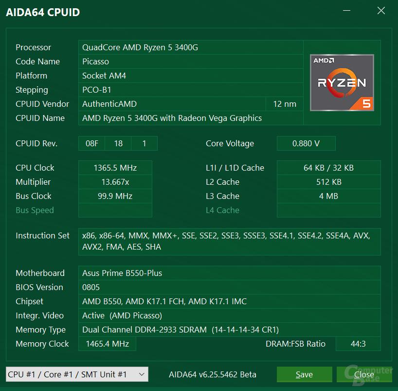 AMD Ryzen 5 3400G auf gleichem Mainboard