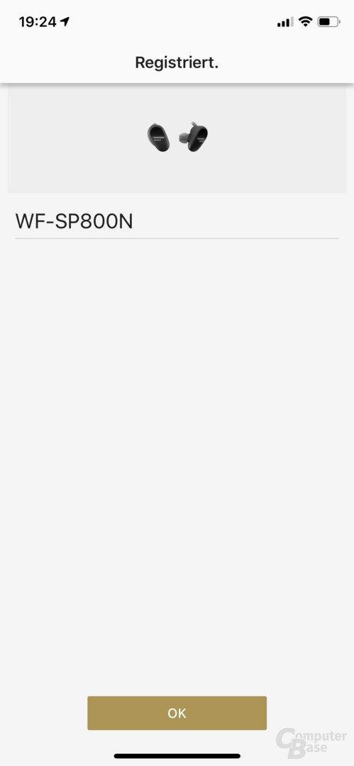 Sony Headphones-Connect-App mit WF-SP800N