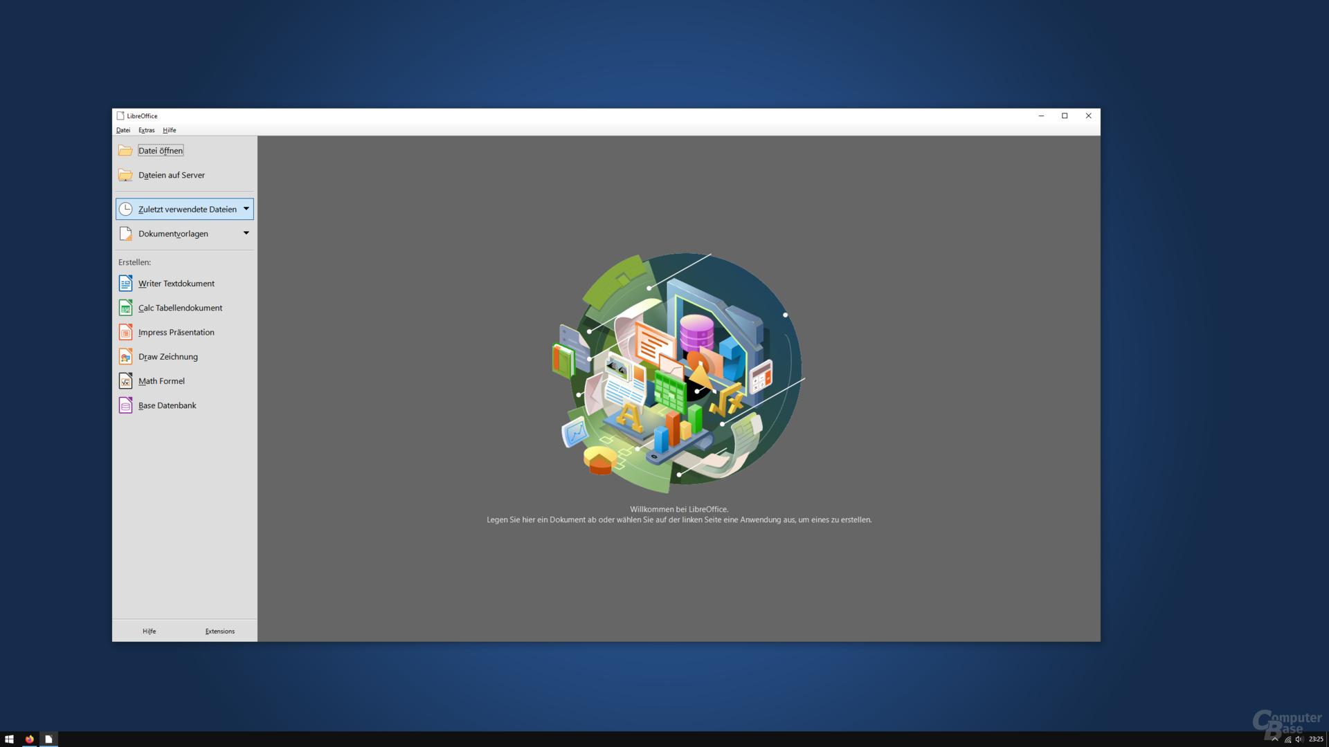 LibreOffice 7.0.0.3 – Startbildschirm