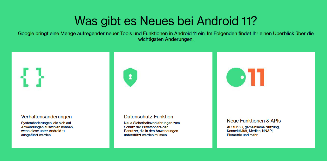 Neue Funktionen in Android 11