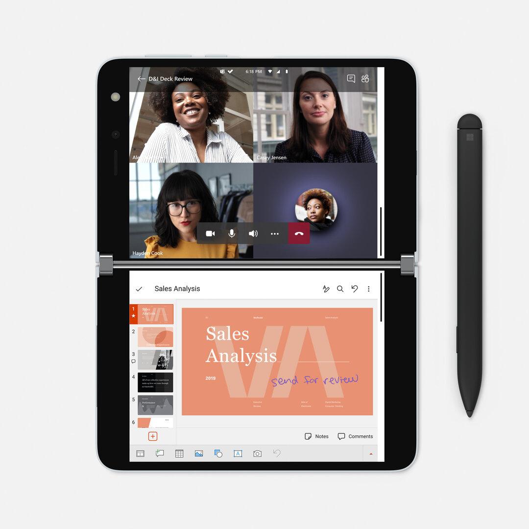 Das Microsoft Surface Duo mit zwei Bildschirmen und Android