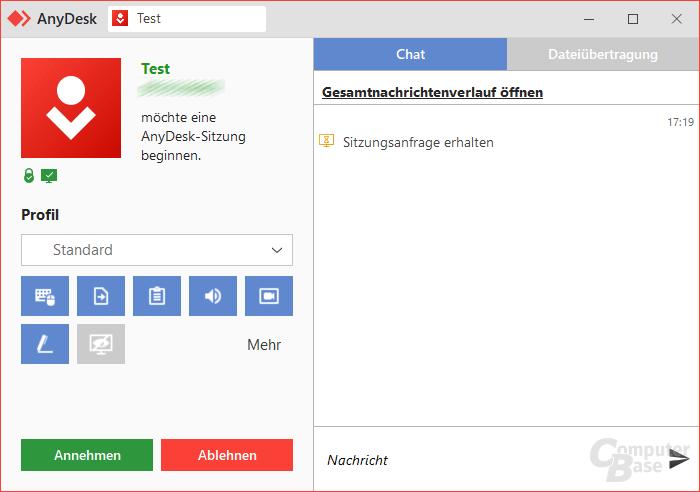 AnyDesk – Verbindungsanfrage
