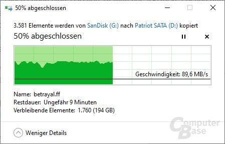 Das 1. Muster drosselt das Tempo nach ca. 200 GB drastisch (2. Versuch)
