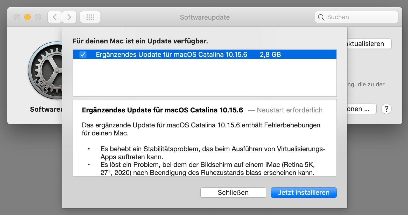 macOS Catalina 10.15.6 – Das ergänzende Update soll für mehr Stabilität sorgen