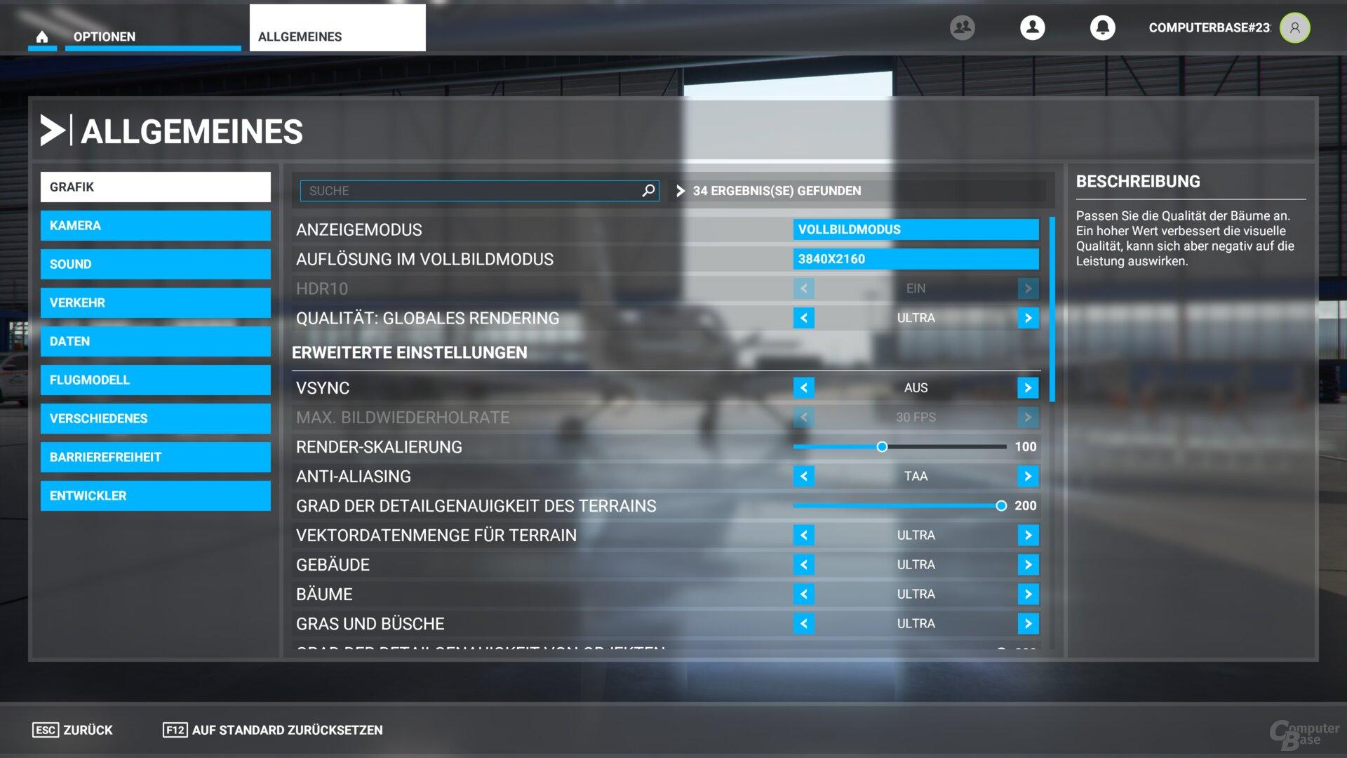 Das Grafikmenü im Flight Simulator