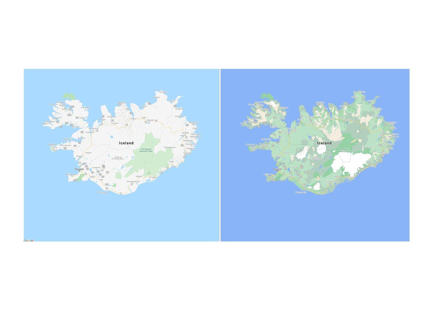 Neue Kartenansicht für Island