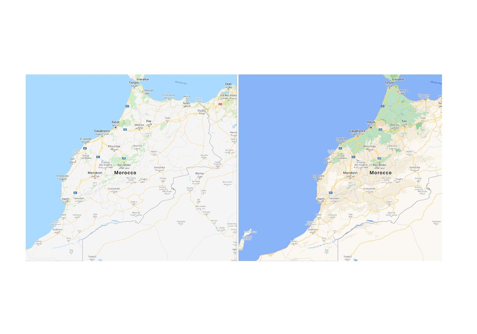 Neue Kartenansicht für Marokko