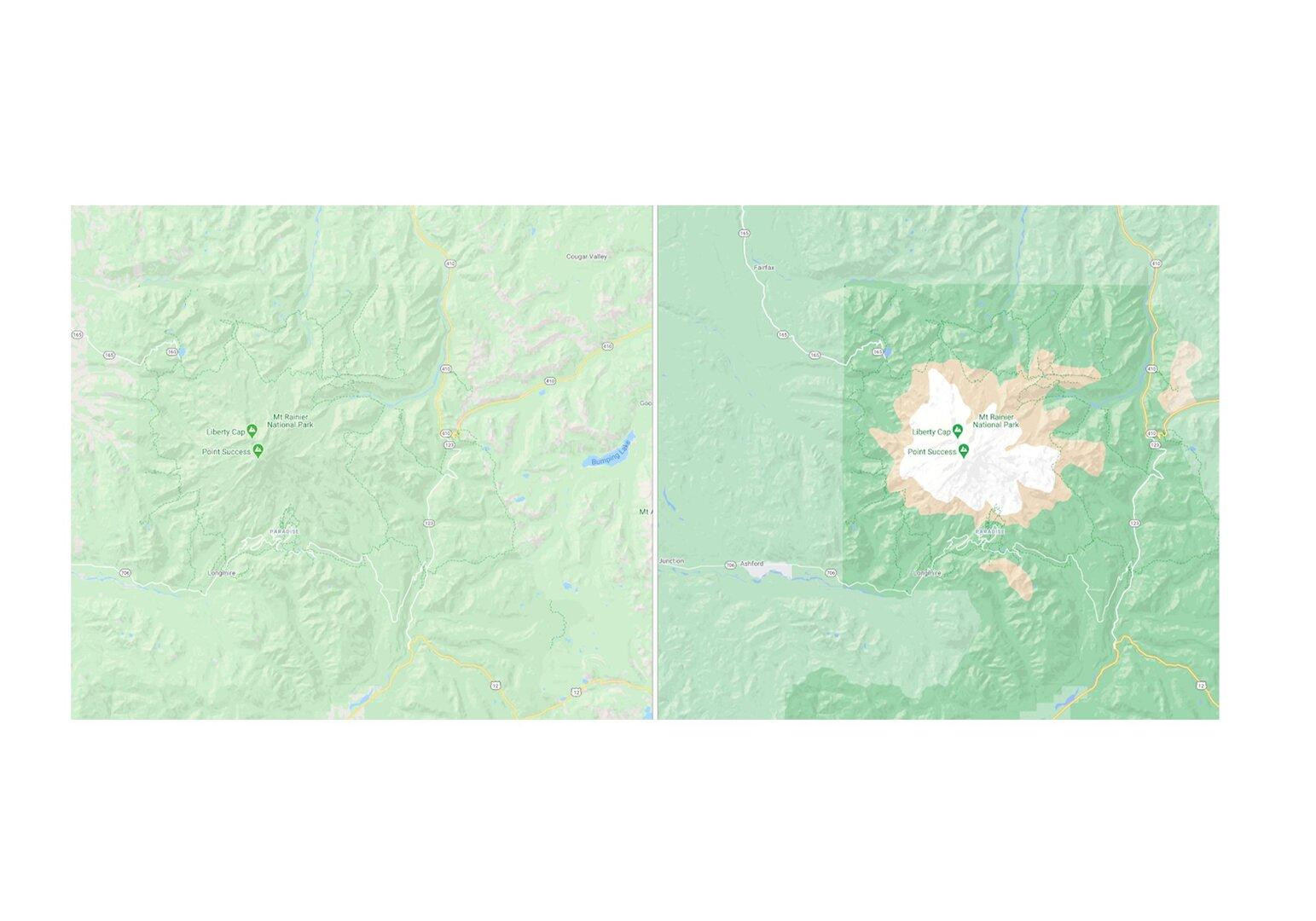 Neue Kartenansicht für den Mt. Rainier National Park