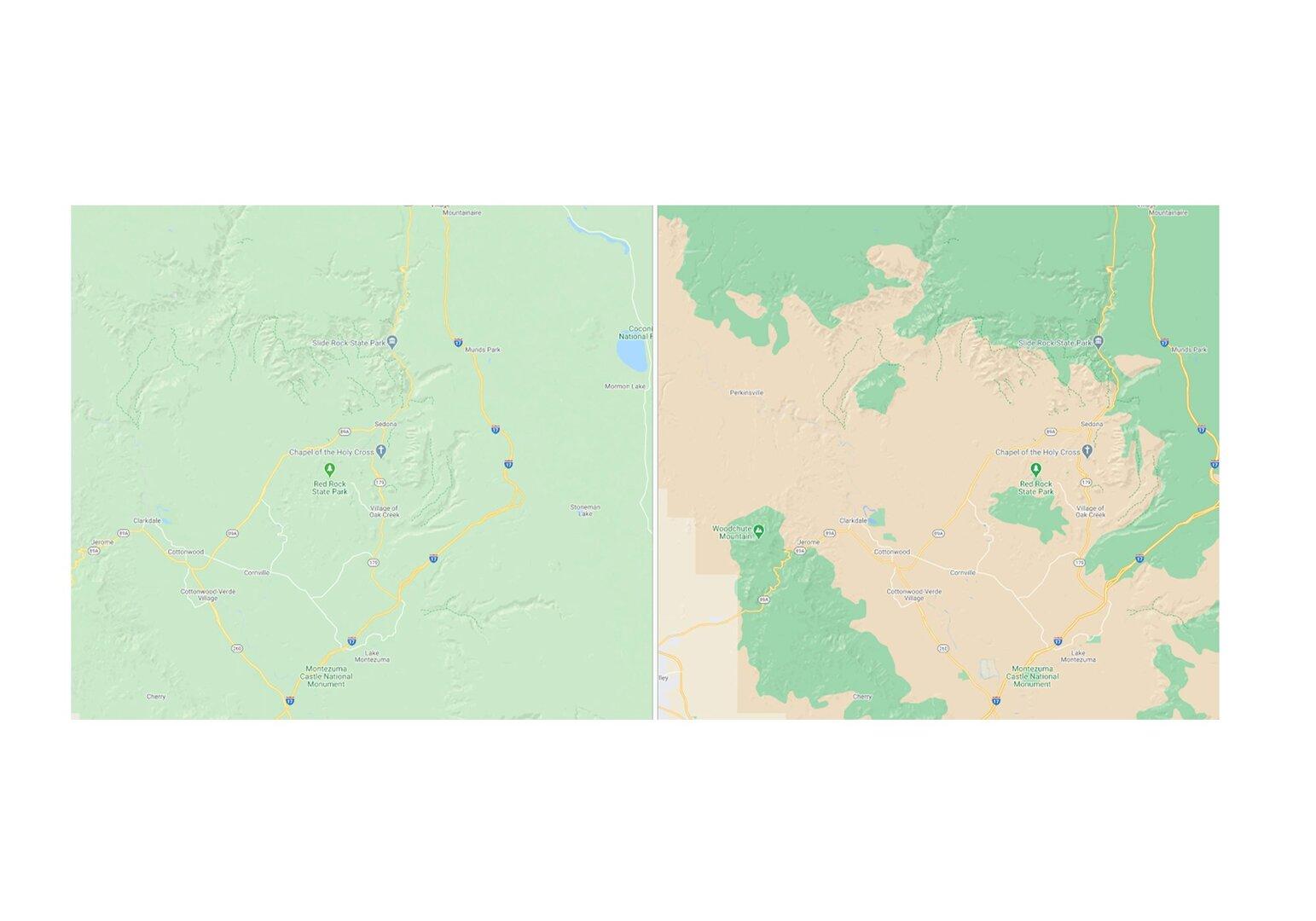 Neue Kartenansicht für Sedona, Arizona