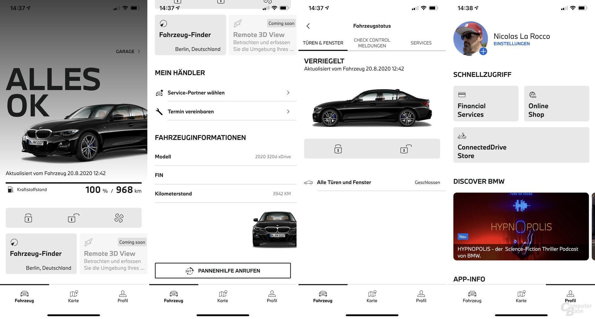Screenshots aus der neuen My BMW App