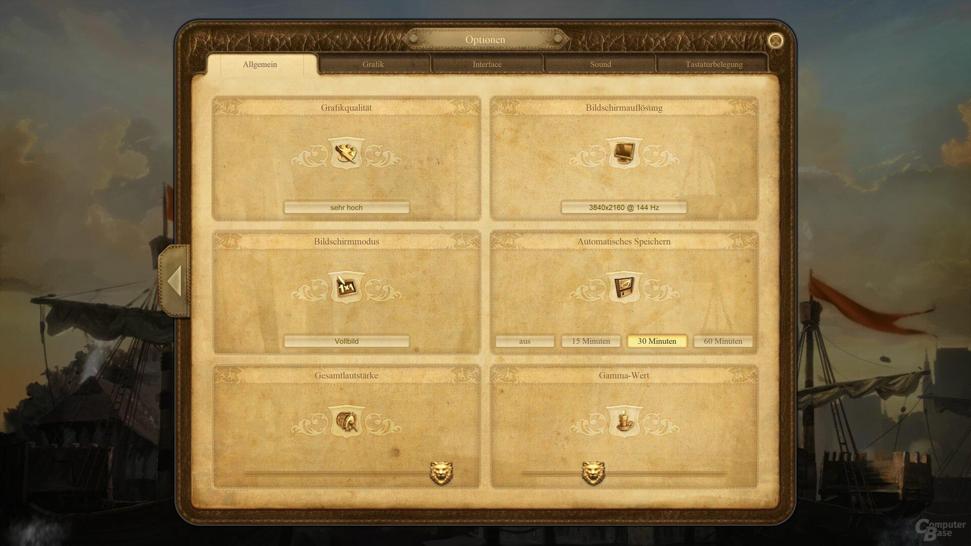 Das Grafik-Menü von Anno 1404 History Collection