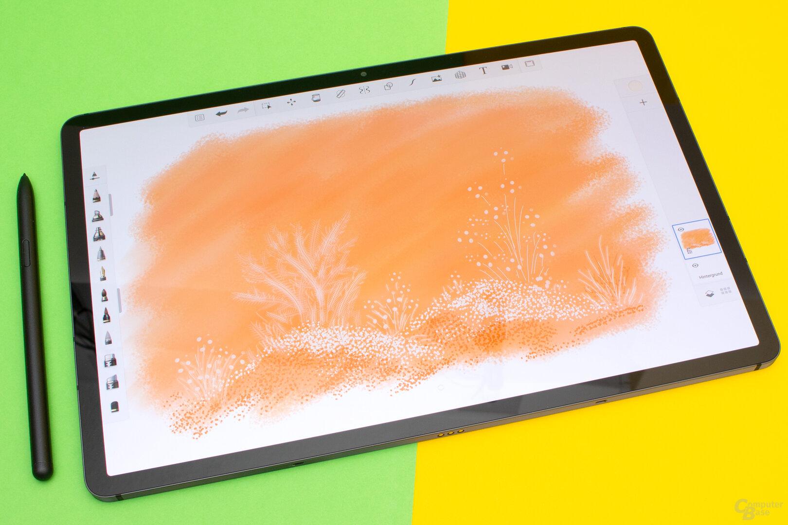 Mit dem Galaxy Tab S7+ und dem S-Pen lässt sich gut zeichnen