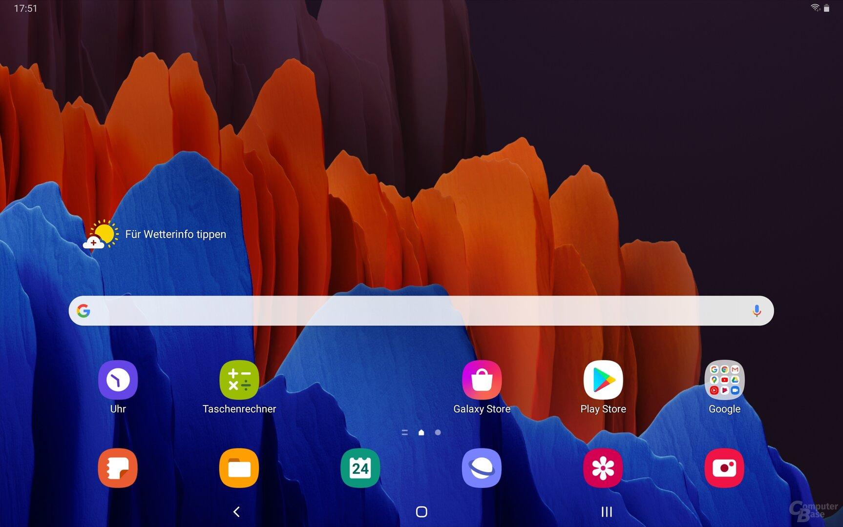 Der Homescreen des Galaxy Tab S7+ mit One UI 2.5