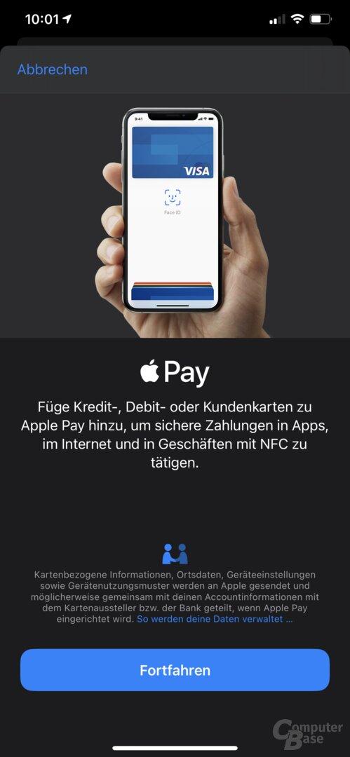 Neue Karte in Apple Wallet hinzufügen