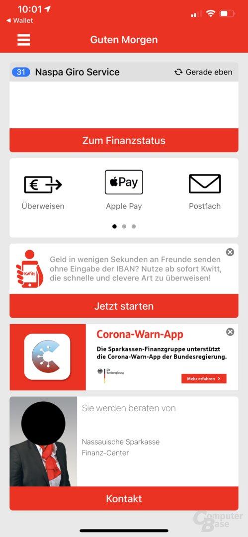 Apple Pay in Sparkassen-App auswählen