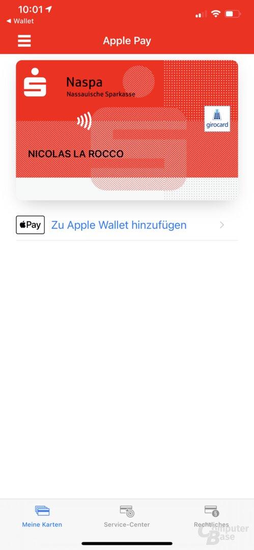 Gewünschte Karte für Apple Pay auswählen