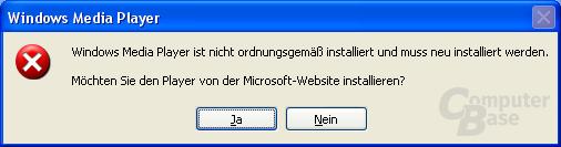 Fehler mit WMP 9.0