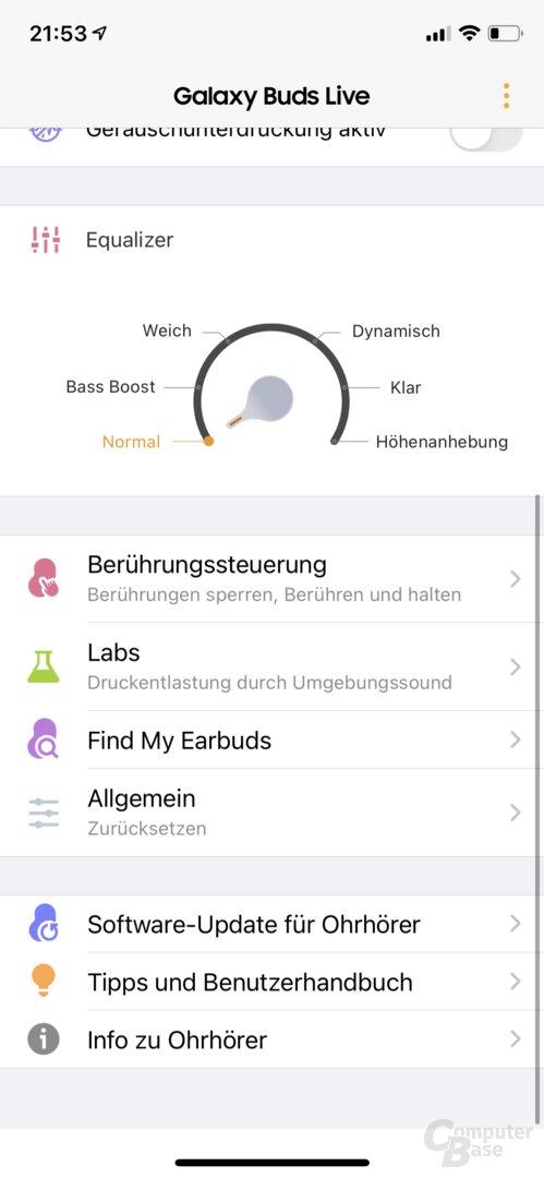 Samsung Galaxy Buds App mit Galaxy Buds Live