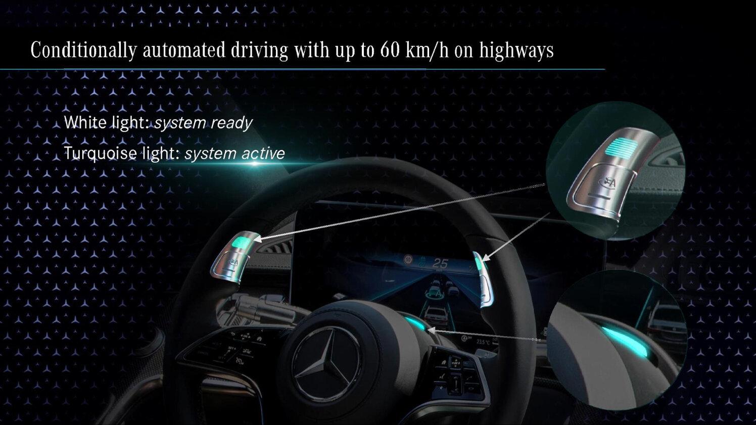 Türkise Beleuchtung bei aktivem Drive Pilot