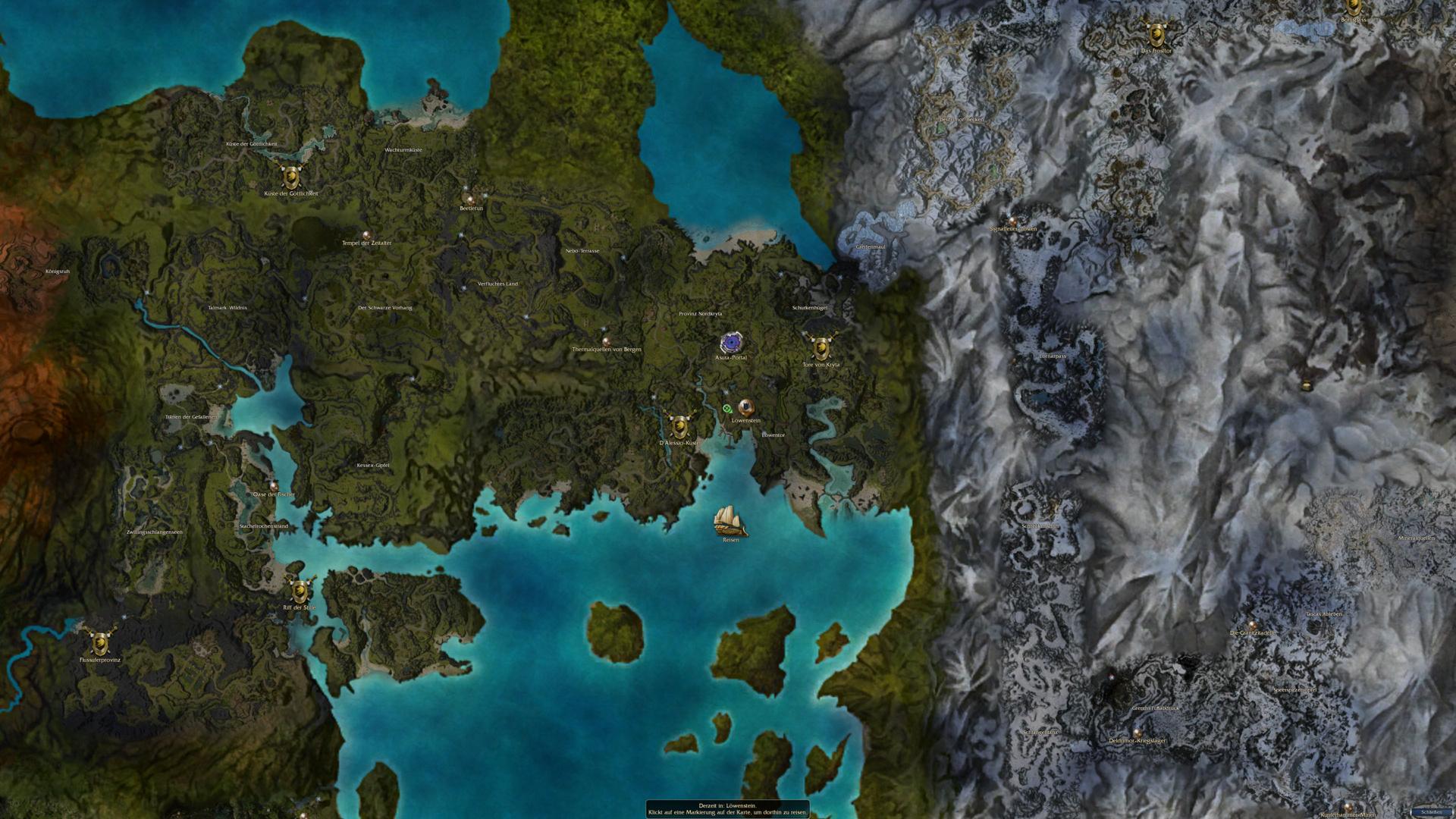 Der Kontinent Tyria aus Guild Wars: Prophecies