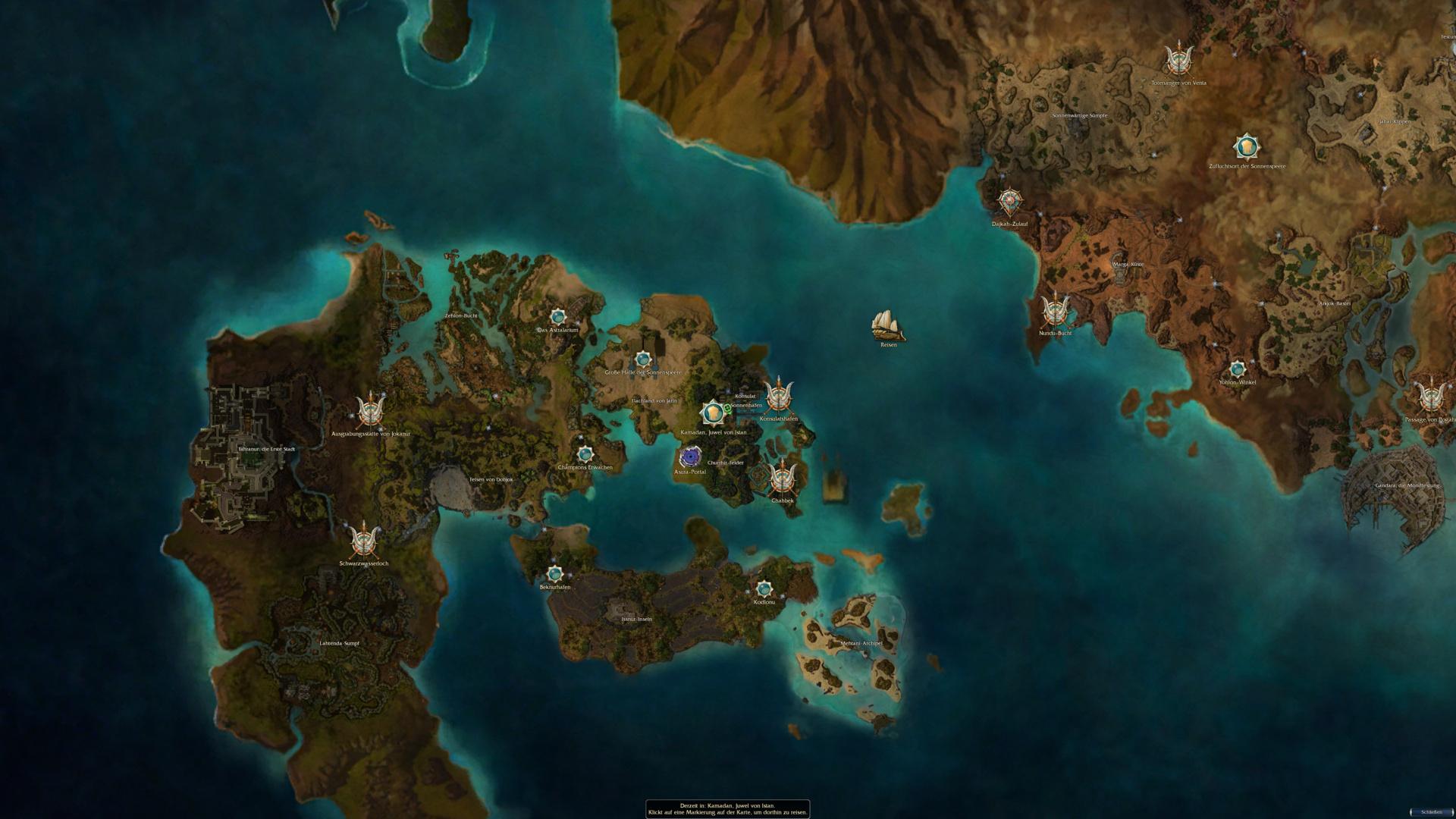 Der Kontinent Elona aus Guild Wars: Nightfalls