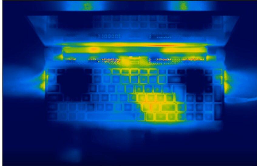 Gigabyte Aorus 15P - niedrige Oberflächentemperatur unter Volllast