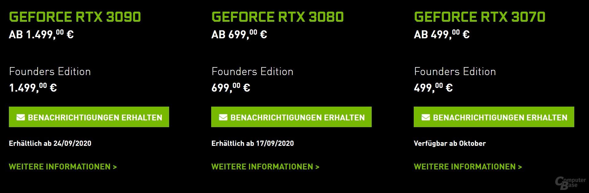 GeForce RTX 3000 - Preise und Daten